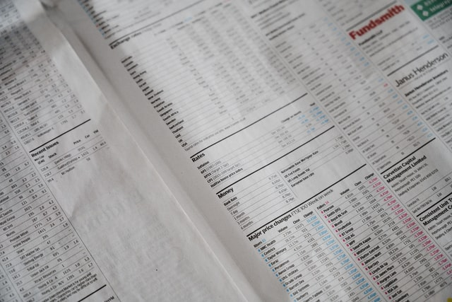 Financial Page of a newspaper